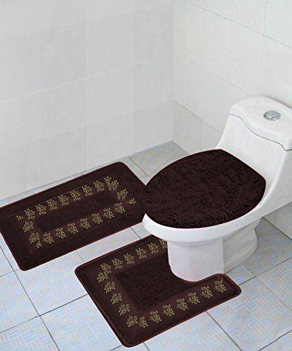 Gorgeoushomelinen 5 3 Piece Brown Embroidered Bathroom Bath Rug