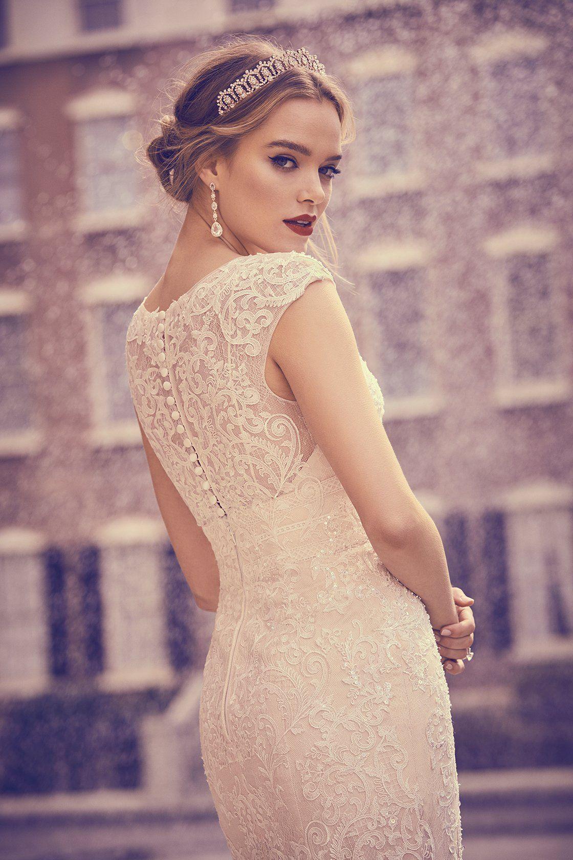 Cap Sleeve Plunging V Neck Sheath Wedding Dress Oleg Cassini