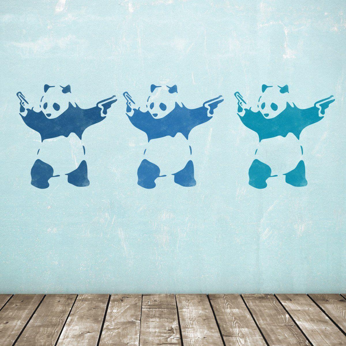 Craftstar large banksy panda wall stencil reusable mylar