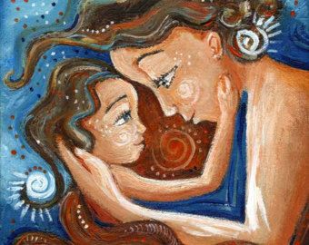Image result for daughter clinging on to mother painting