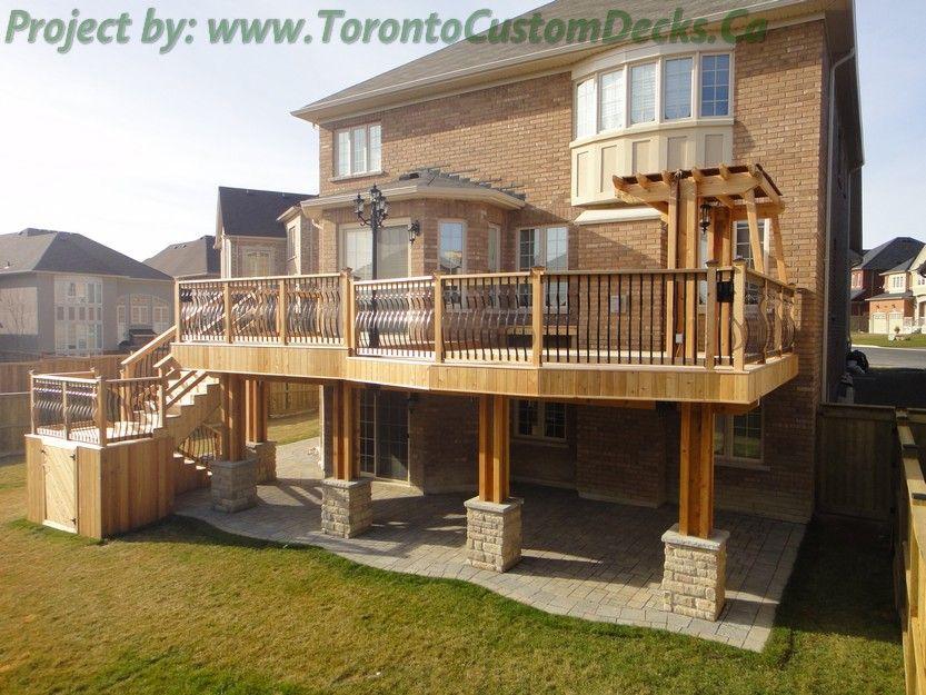 Walkout basement deck plans torontocustomdecks interlock for High elevation deck plans