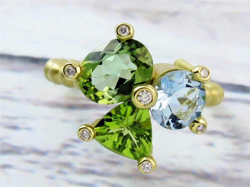 Suzy Landa 18KY Clover Ring w/Green Tourmaline, Peridot, Aqua and Diamonds | Women's Colored Stone Rings from Studio 2015 | Woodstock, IL