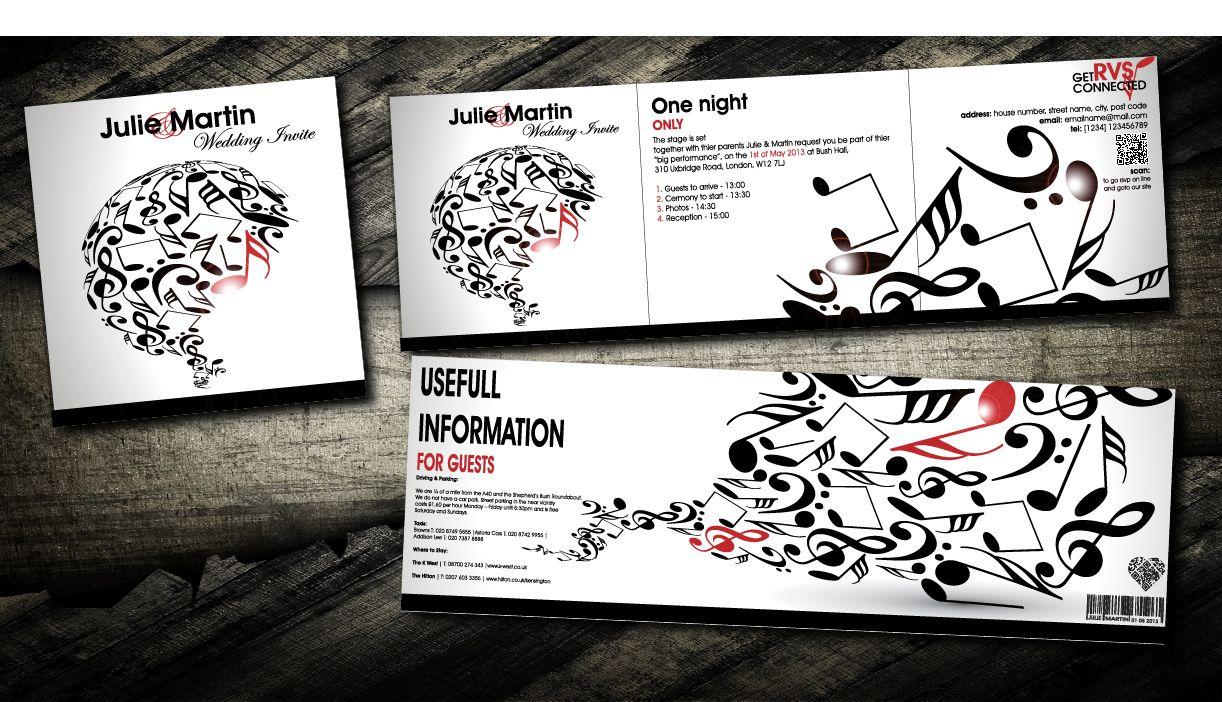 music wedding invitations | Music Z card wedding invitation cards ...