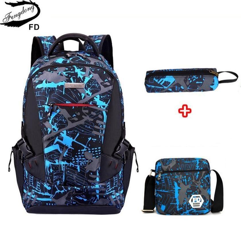 3Pcs//Set Large Camouflage Girls Boys Travel School Bag Backpack Rucksack Bag UK