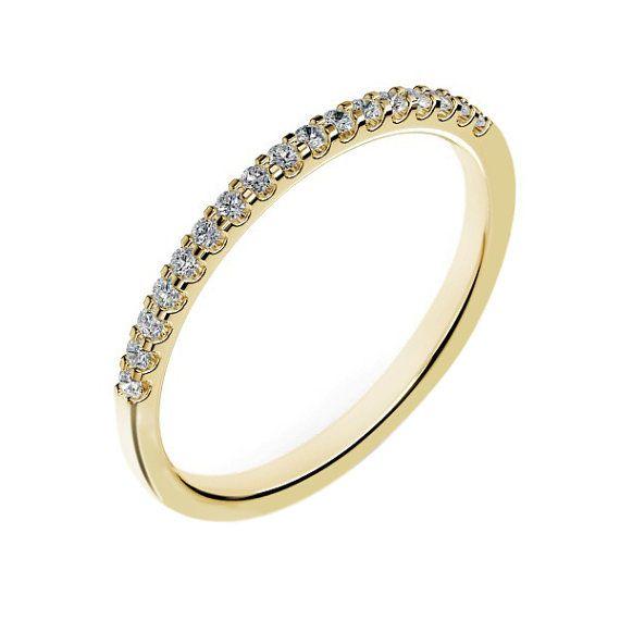 14k Yellow Gold Diamond Wedding Band For Women 0 18 Carats G Si2 Shared Set
