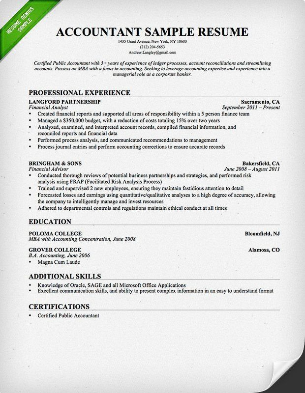 Accounting Sample Resume Captivating Resume Examples Accounting  Pinterest  Resume Examples And Resume .