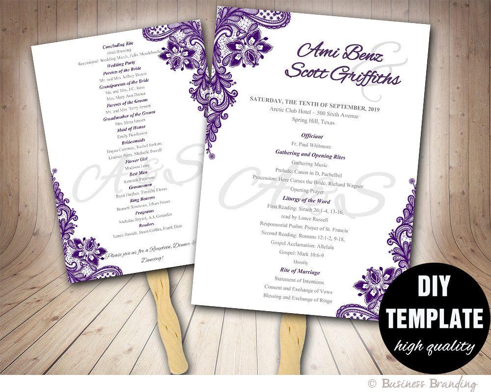 Lace Purple Wedding FAN Program DIY Instant DownloadPrintable Fan TemplateAubergine
