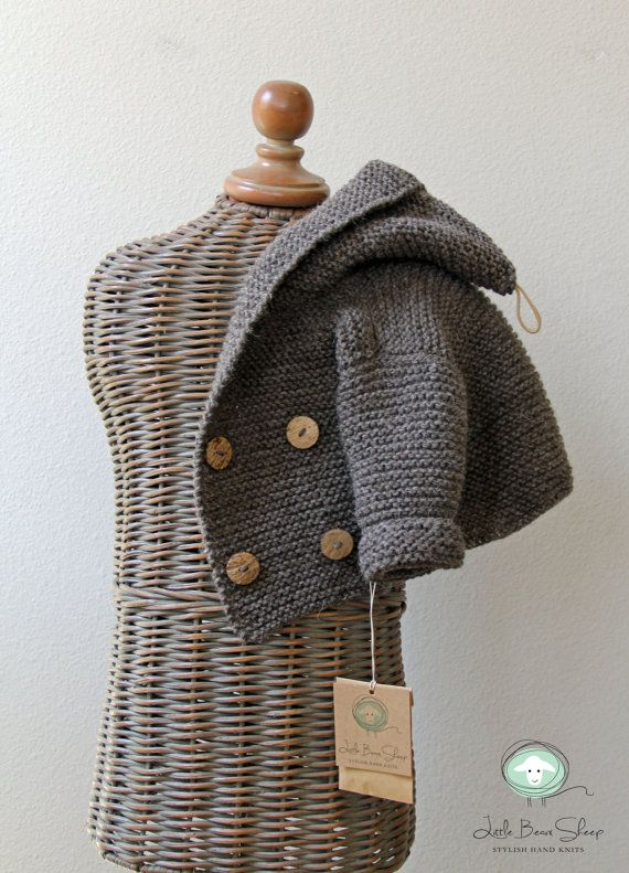 63670d604 Hand knitted Handmade Baby Wool Sweater Coat Hooded Cardigan ...