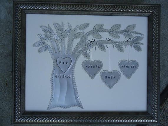 Ten Year Anniversary Gift 10 Year Anniversary Gift Family Tree Personalized Wedding Gift Stamped Names And Wedding Date Aluminum Tree 10 Year Wedding Anniversary Gift 10 Year Anniversary Gift Ten Year Anniversary Gift