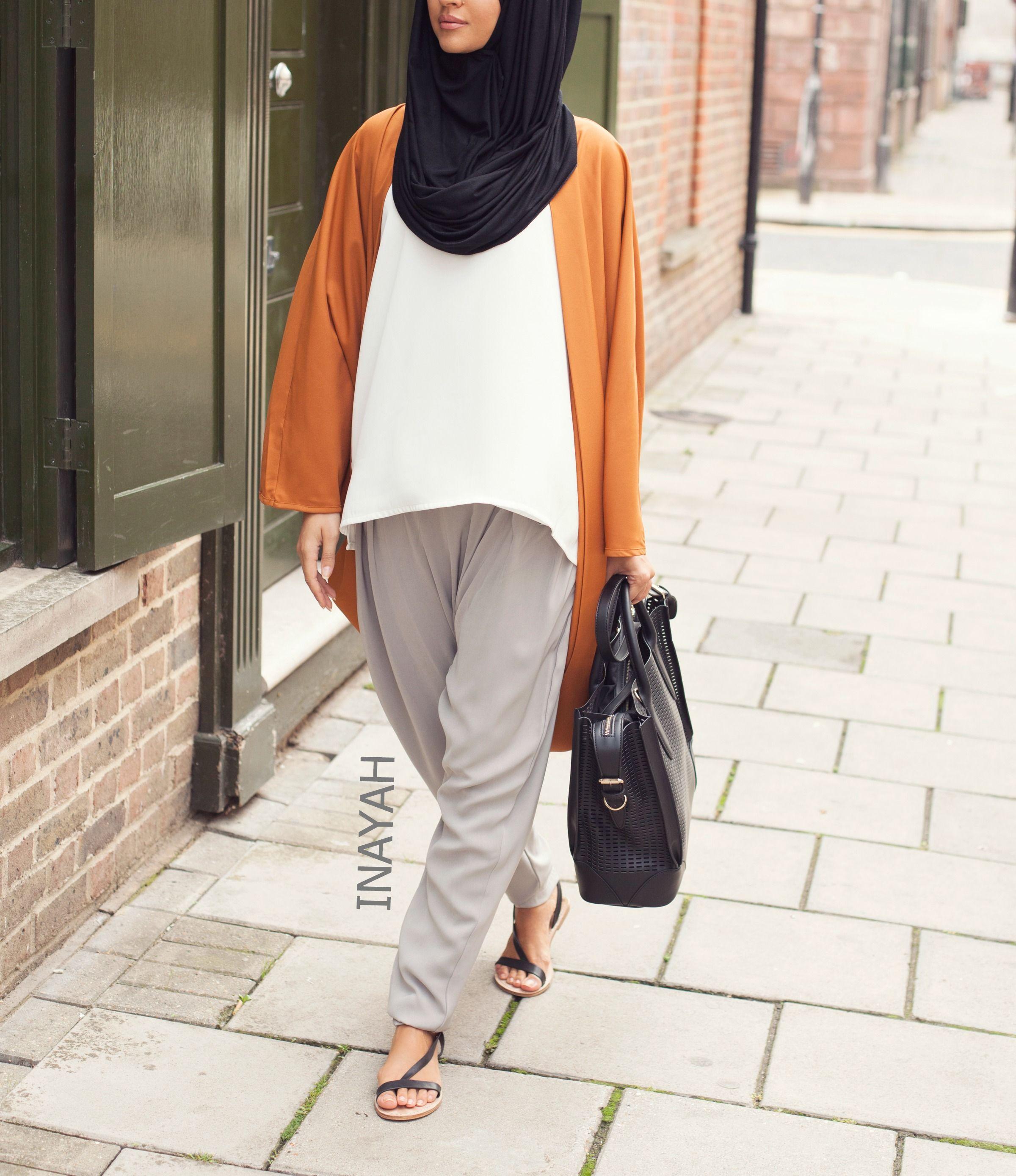 Tan Cocoon Cardigan  + Grey Crossover Trousers + Black Maxi Jersey Hijab  | INAYAH www.inayahcollection.com  #inayah#hijabfashion#modestfashion#modeststreetfashion