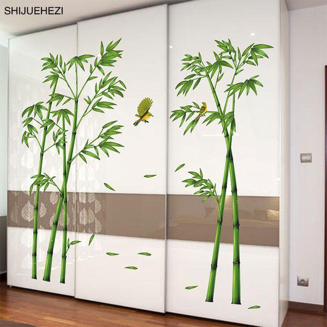 Shijuehezi Grun Bambus Pflanzen Birds Pastoralen Stil Wandaufkleber
