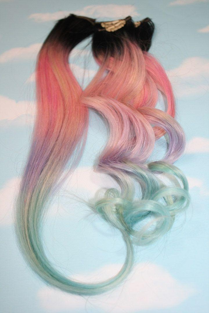 Light Pastel Dip Dyed Hair Clip In Hair Extensions Tie Dye Tips