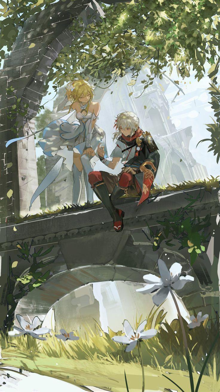 Photo of Kazuha and Lumine