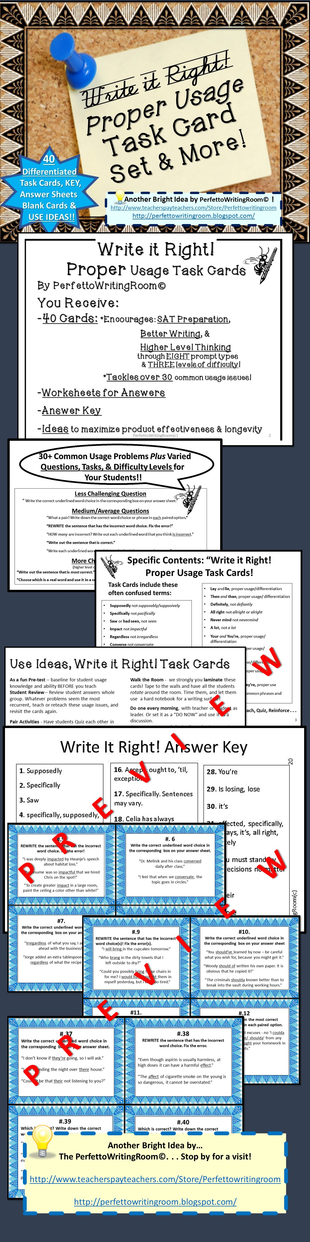 Proper Usage Task Card Set And More Middle School And