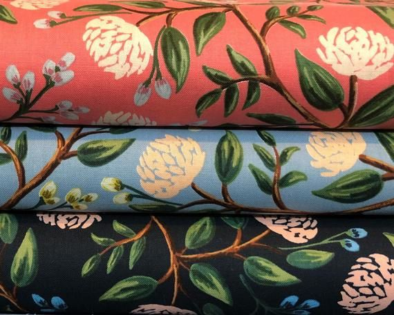 Peonies Fat Quarter Bundle Wildwood Rifle Paper Co #bluepeonies