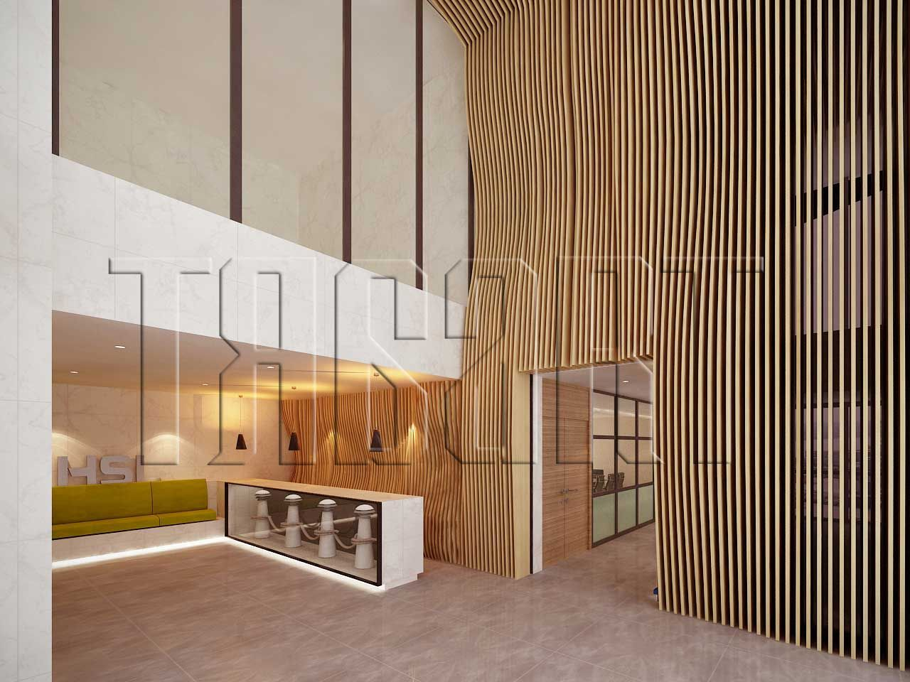 How to create a feature wall with photos - Interior Design Using Natural Wave Like Forms To Create A Feature Wall In The Reception Area