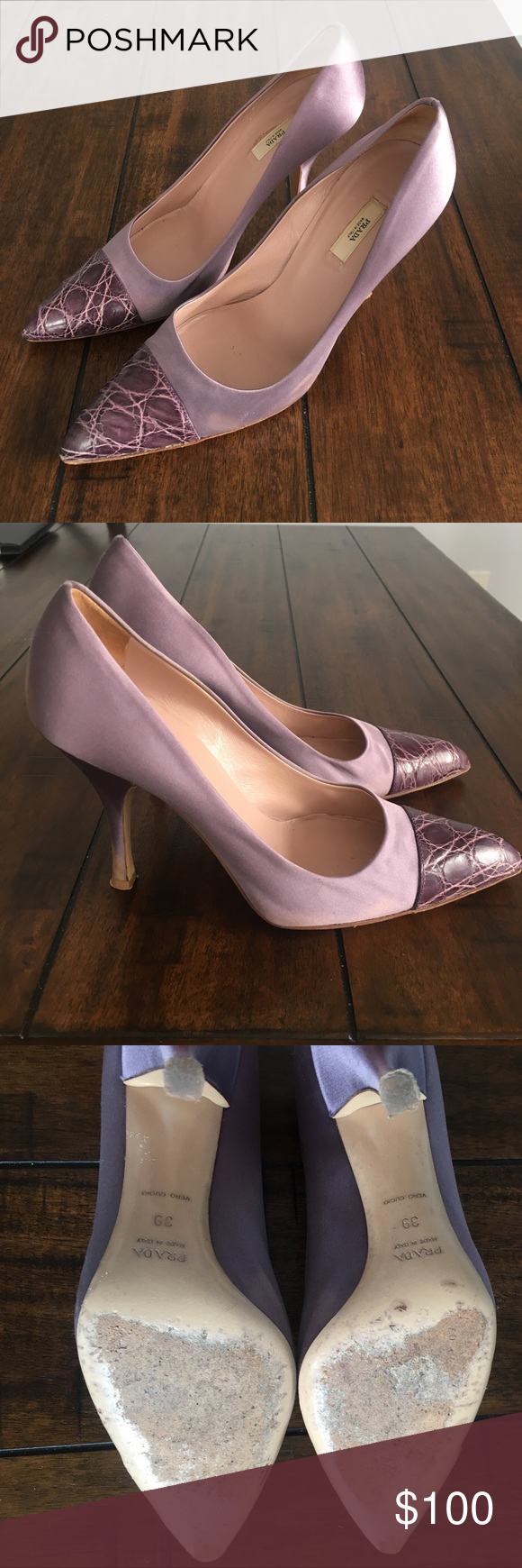 6829483485c Lavender Satin and Snakeskin Prada Pumps GORGEOUS Prada Heels. Lavender  satin and snakeskin tips. Size 39 but a bit narrow - would recommend for a  usual US ...