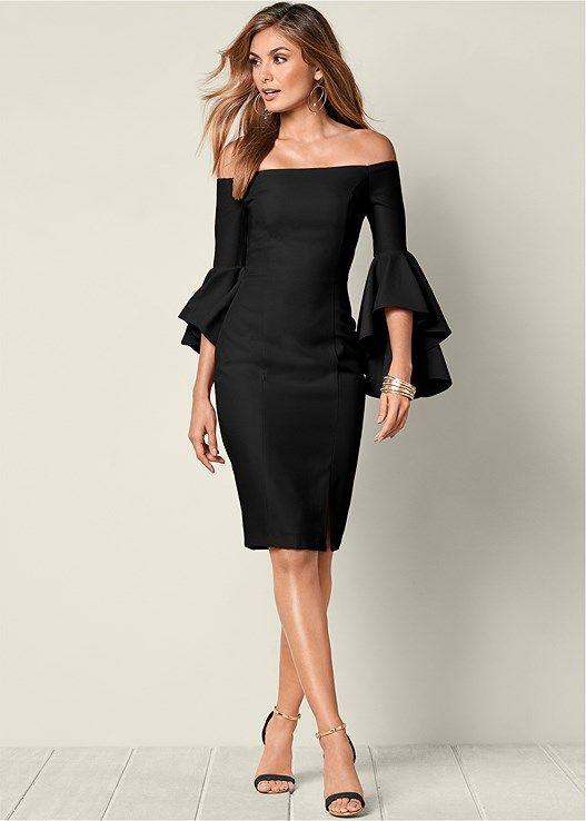 9199843943a Venus Women s Sleeve Detail Dress - Black