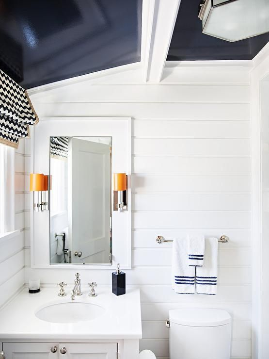 White Contemporary Kid Bathroom Accented With A Glossy Navy Blue