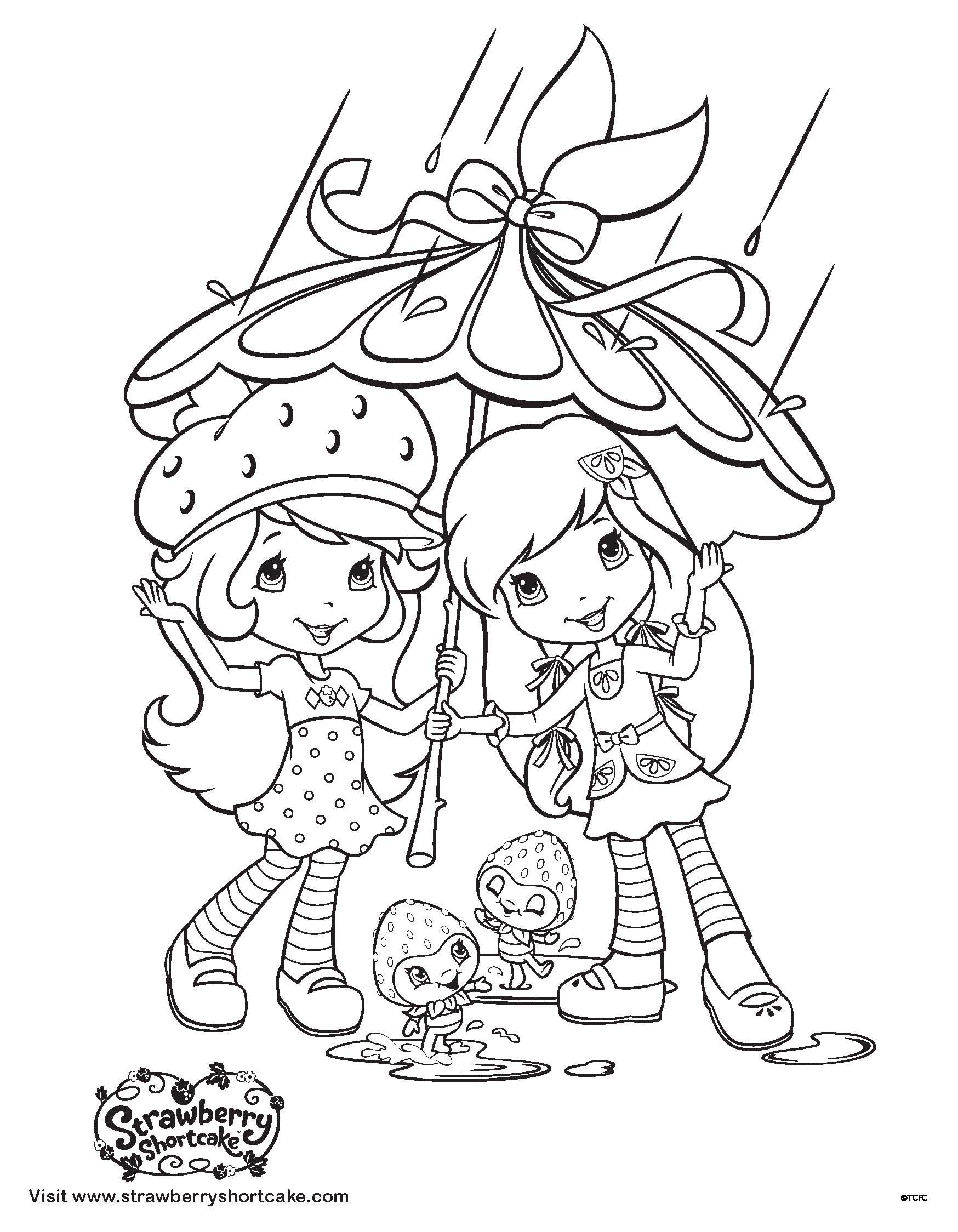 strawberry shortcake coloring sheet april showers bring