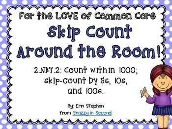 Reinforce or review skip counting with this fun & FREE activity! Students will love getting to move around the room while they solve challenging skip counting problems.  Simply post the cards around the room and copy the recording sheet. Students walk around the room answering solving each problem on their sheet.  This activity aligns with the Common Core standards 2.NBT.2, but would also be good for first graders or a review for third graders.