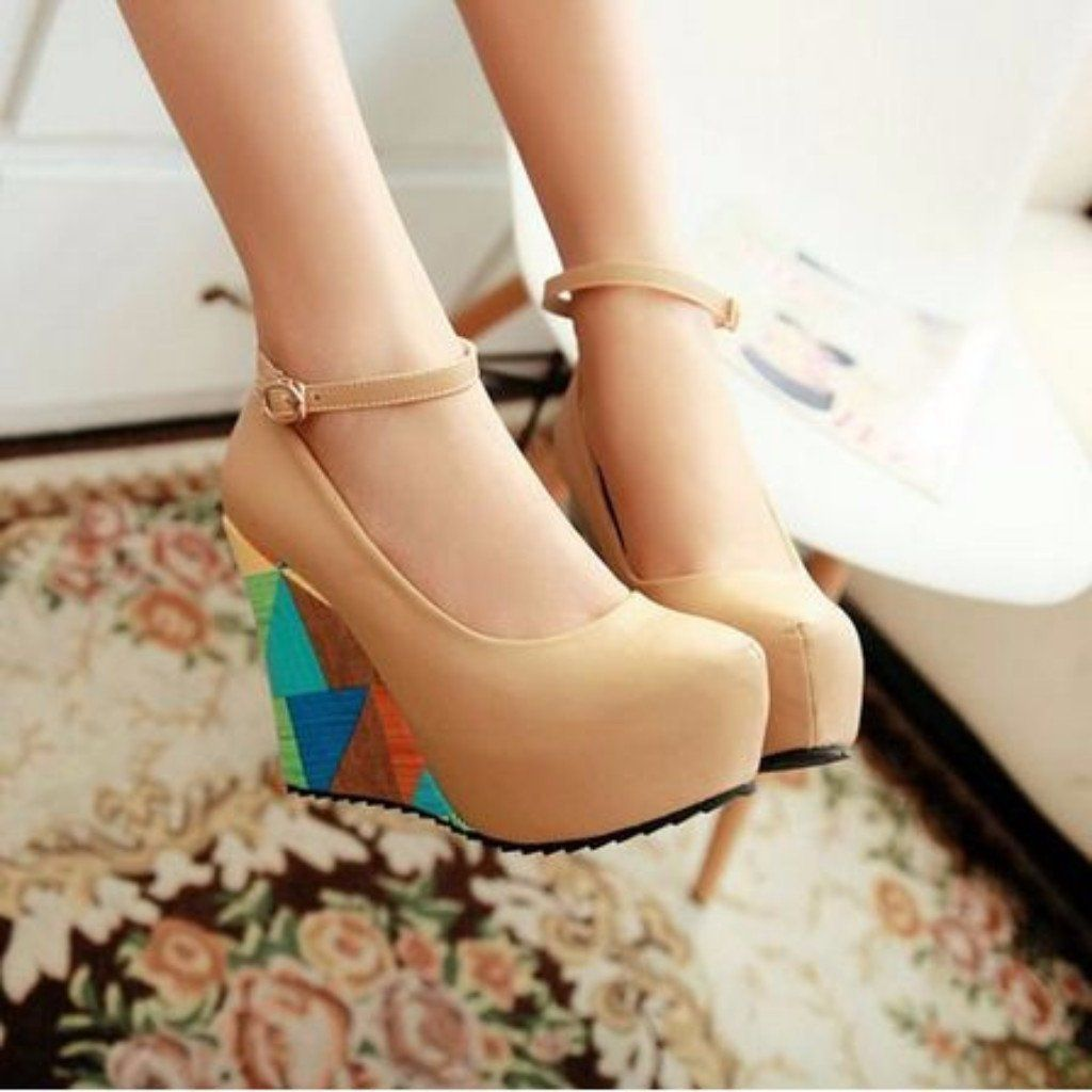 e296299536d Lovely Bohemian Round Toe Wedge Shoes