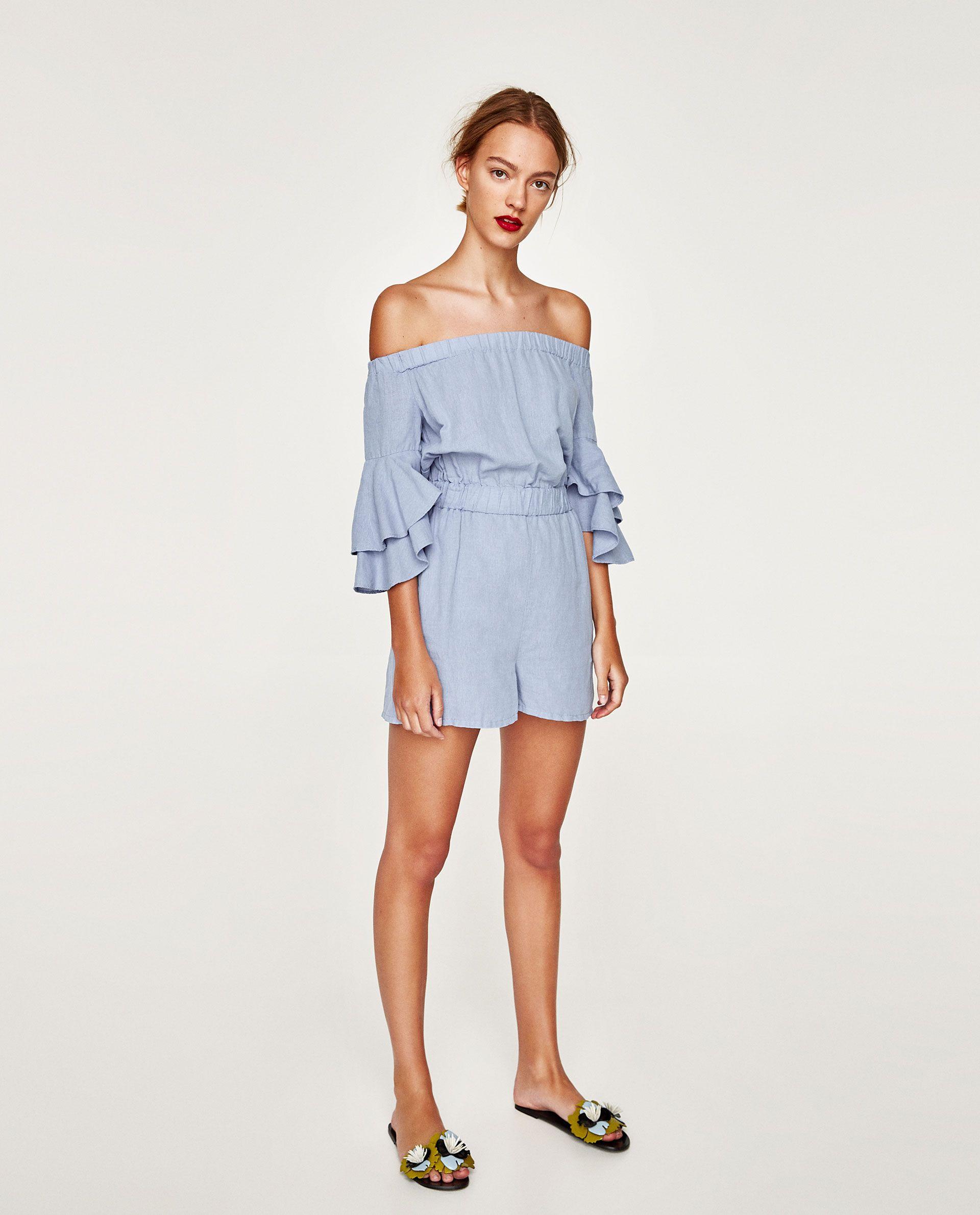 5c606be7 Jumpsuit Dress With Ruffled Sleeves Zara - raveitsafe