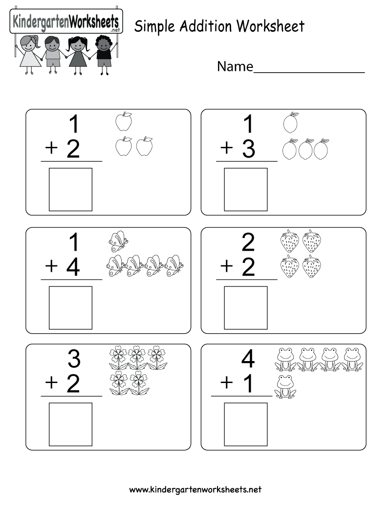 Worksheets Simple Addition Math Worksheets this is an addition worksheet for kindergarteners kids can add the 8cd5883c13c752526650b692f389a4f6 png