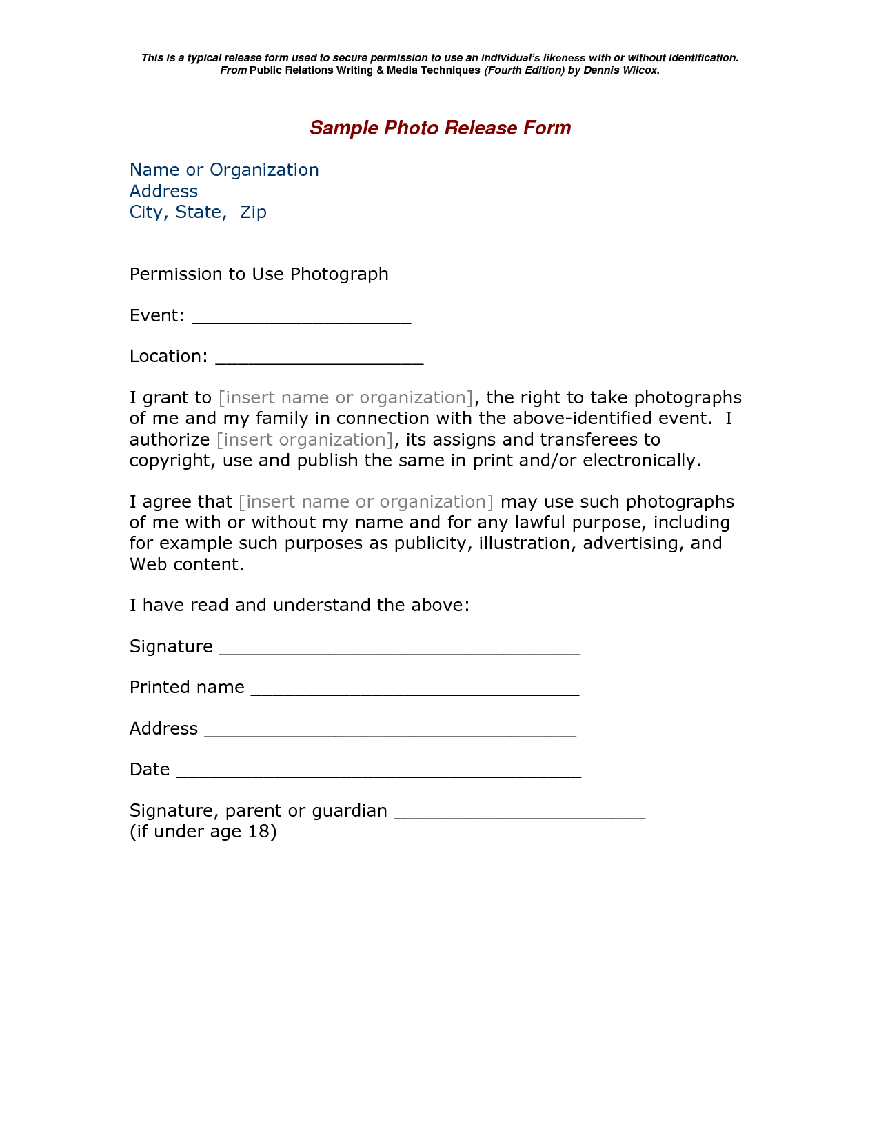 Great pography copyright release form images release for Photographer copyright release form template