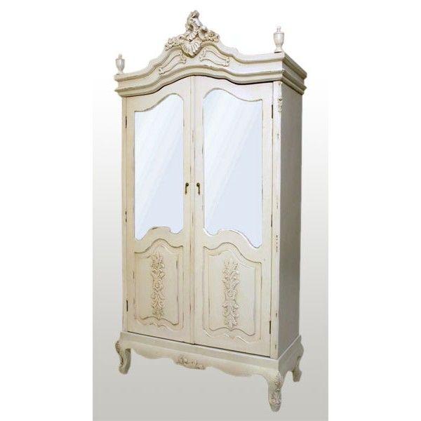 Antique White Armoire, Half Mirror Doors | Shades of Elegance