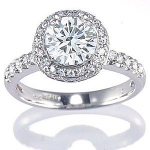 diamond engagement ring setting set with side stones round brilliant cut diamonds rings in white gold under 3000 us dollars - Round Wedding Rings