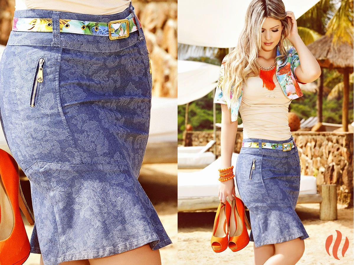 75e04a42ba Saia jeans estampada da Base Café Verão 2015!