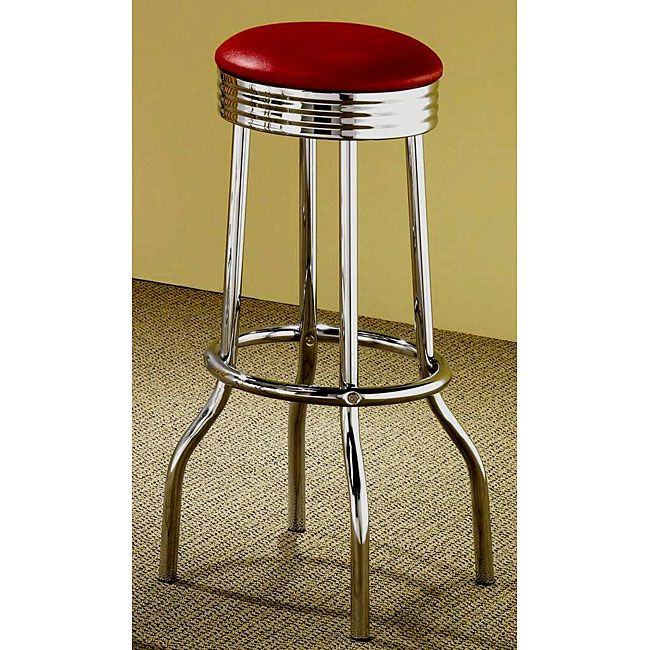Li Add Some Color To Your Dining Room With A Pair Of Red Retro Chrome Bar Stools Style Furniture Has Clean Updated Look