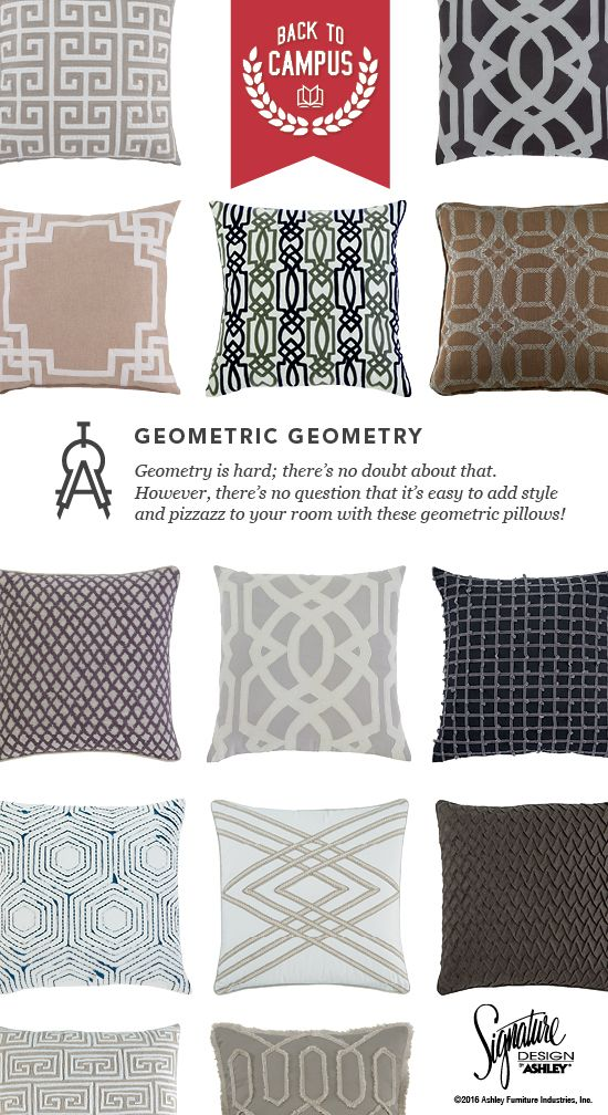 Geometric Geometry Accent Pillows Back To Campus Style School Furniture And Accessories Ashley Ashleyfurniture