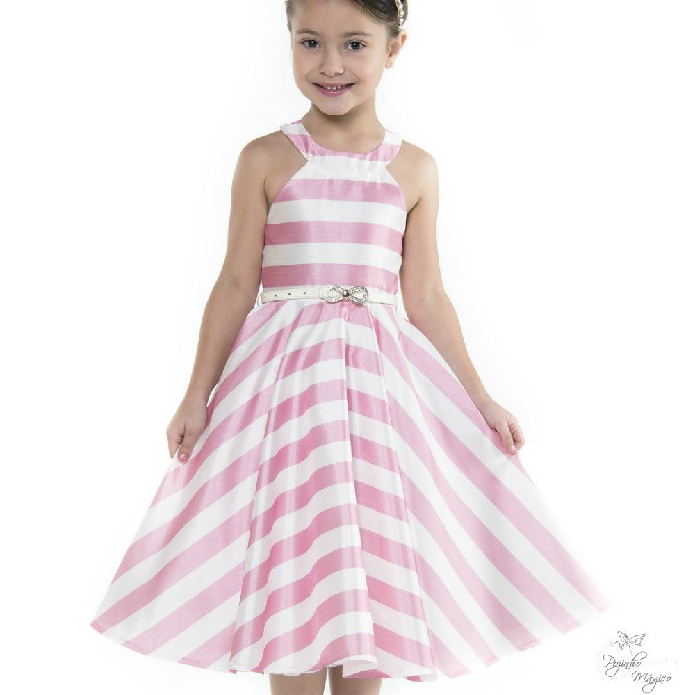 4cf70c27ba Vestido Infantil listrado Branco e Rosa Petit Cherie Vestido Infantil Festa
