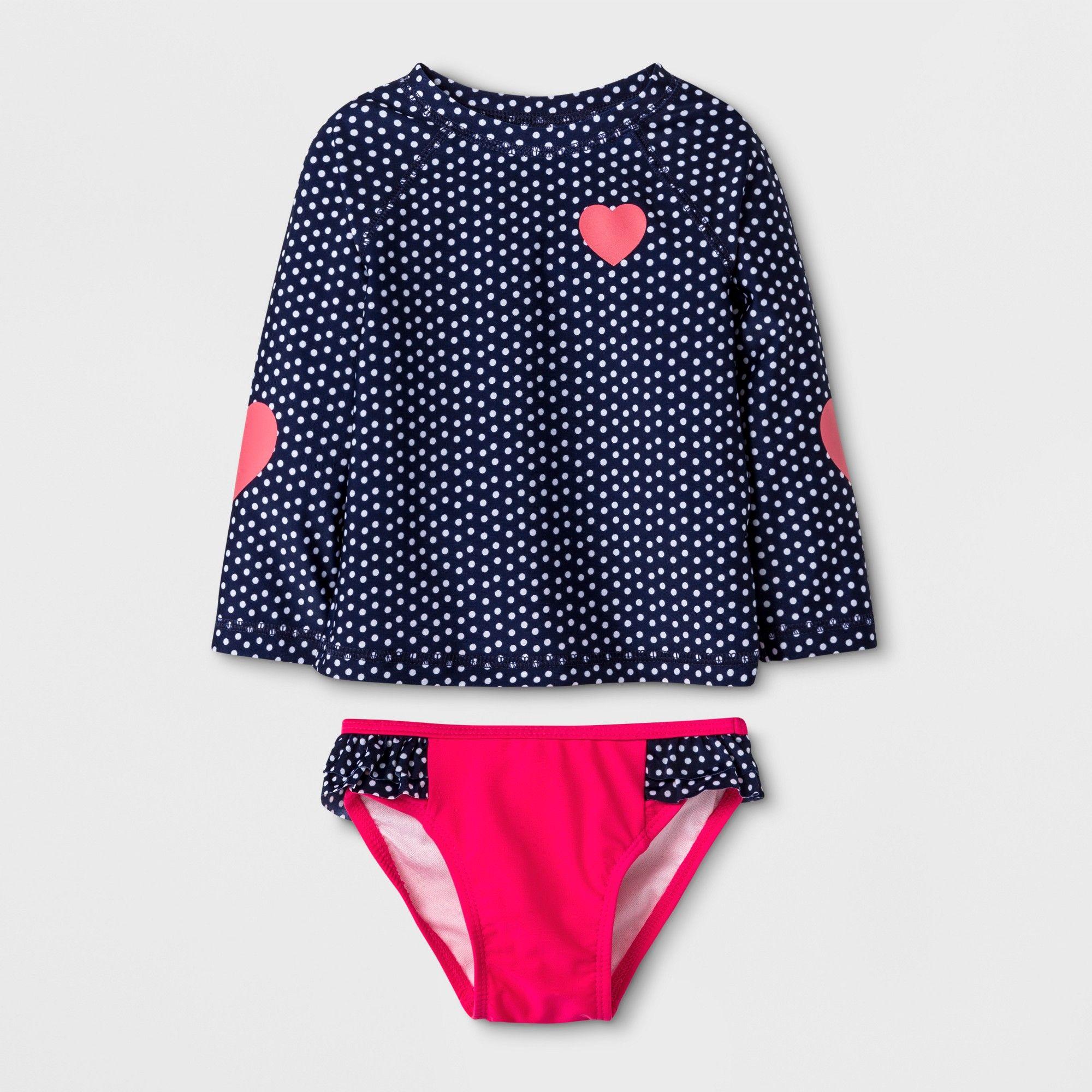 7182a088214b4 Baby Girls' Long Sleeve Polka Dot Rash Guard Set - Cat & Jack Navy 12M, Blue