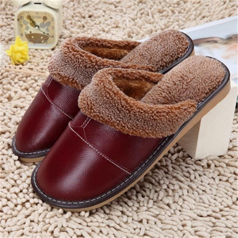 Photo of Afterpay Zippay Jujube Red / 5.5High Quality Winter Warm Home Slippers Couples Genuine Cow Leather Leisure Lamb Wool Cow Muscle Women Men Indoor Floor Slippers