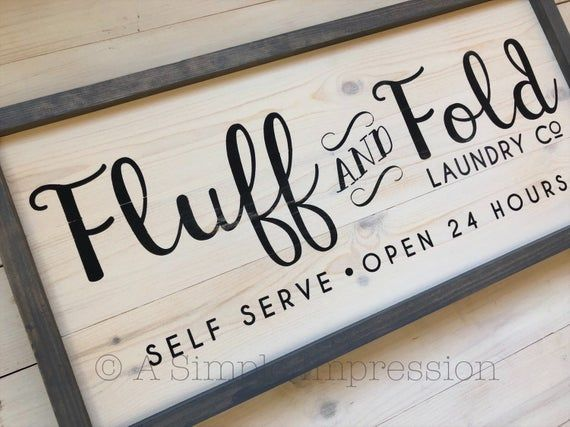 Modern Farmhouse Fluff and Fold Laundry Room Sign | Farmhouse Wall Decor | LAUNDRY Sign | Painted Wood Sign | Rustic Laundry Room Decor