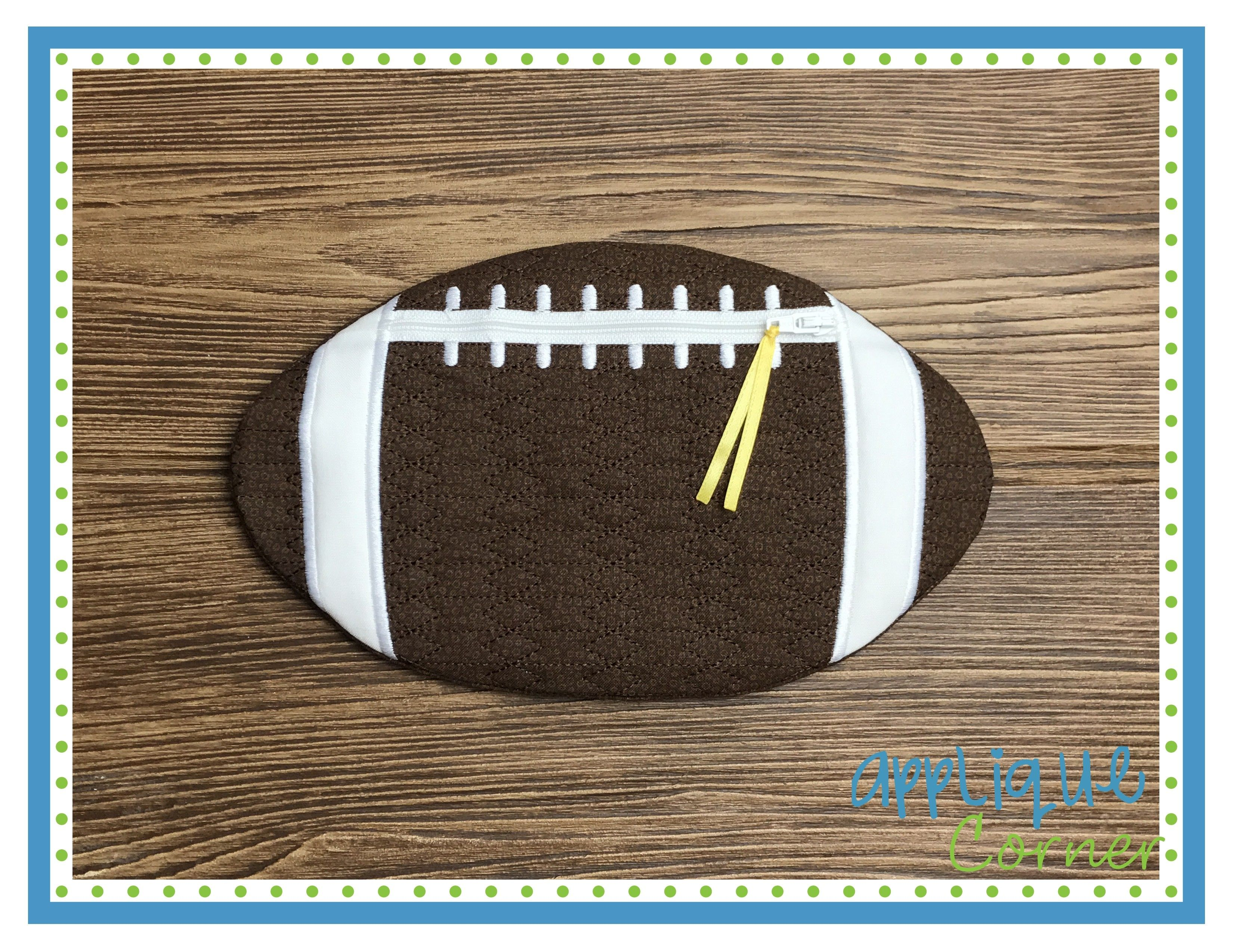 Applique corner in the hoop quilted zipper football bag design