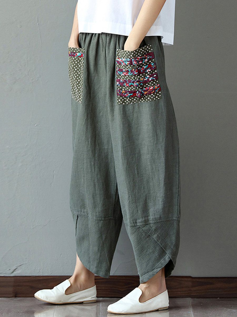 UK Women Vintage Elastic Waist Wide Leg Pants Summer Casual Cotton Linen Trouser