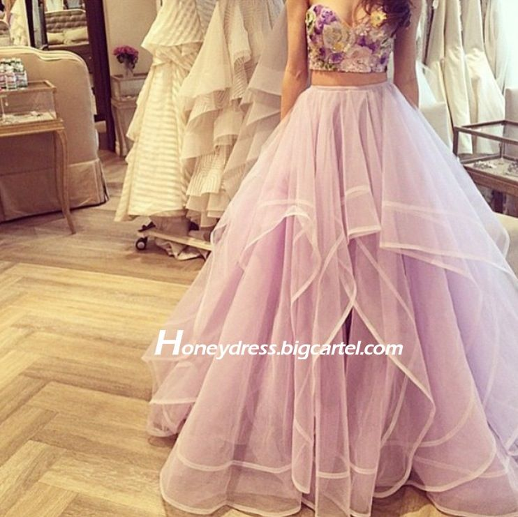 Image of Latest Light Lavender Tulle Two Piece Prom Gown Dress