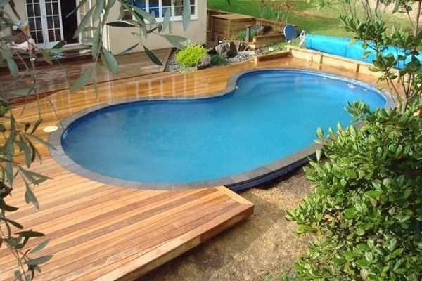 Above Ground Pool Decks Ideas Wood Deck Kidney Shaped Swimming
