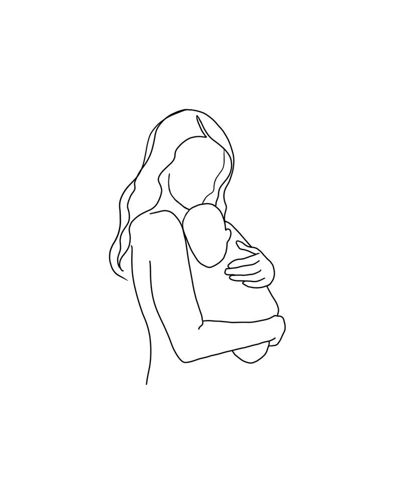 Photo of Mother and baby simple Line Art, mom and baby print, momma and baby printable, mama and baby instant digital download, line art, black white