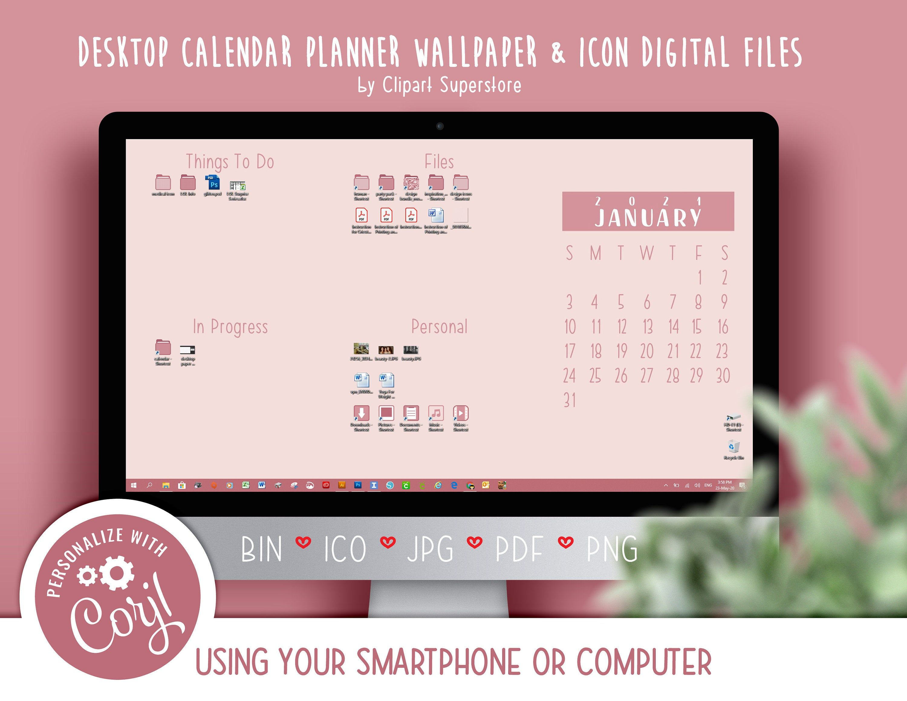 2021 Desktop Calendar Wallpaper Organizer Planner and Icon