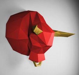 Tier Wandtrophäen Papercraft Papertrophy