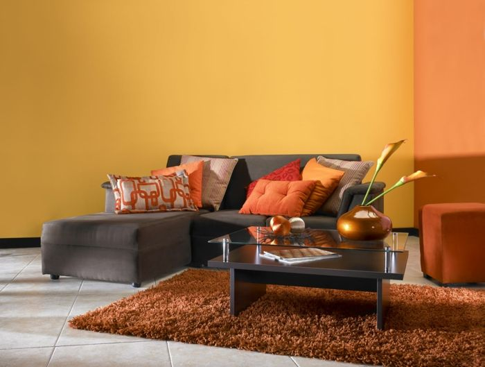 Kleines Wohnzimmer Einrichten Wandfarbe Orange Hochflor Teppich Braun