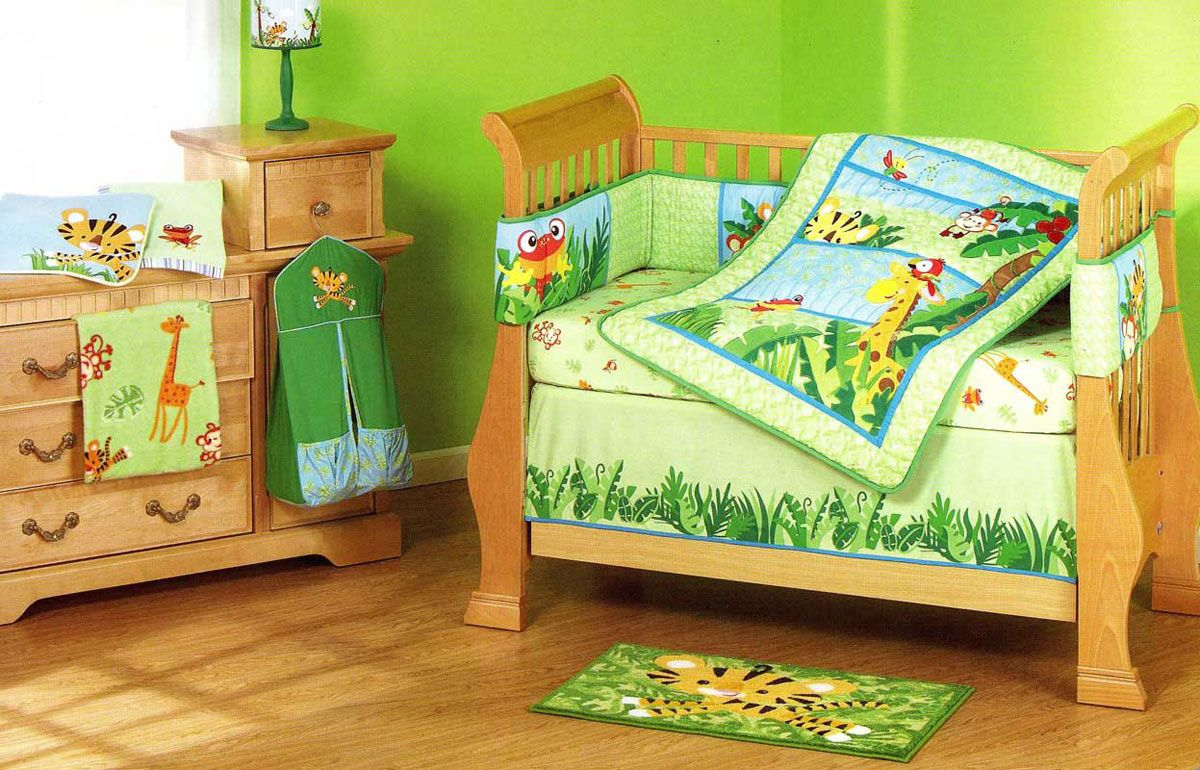 Fisher Price Rainforest Jungle Stripe Baby Crib Bedding