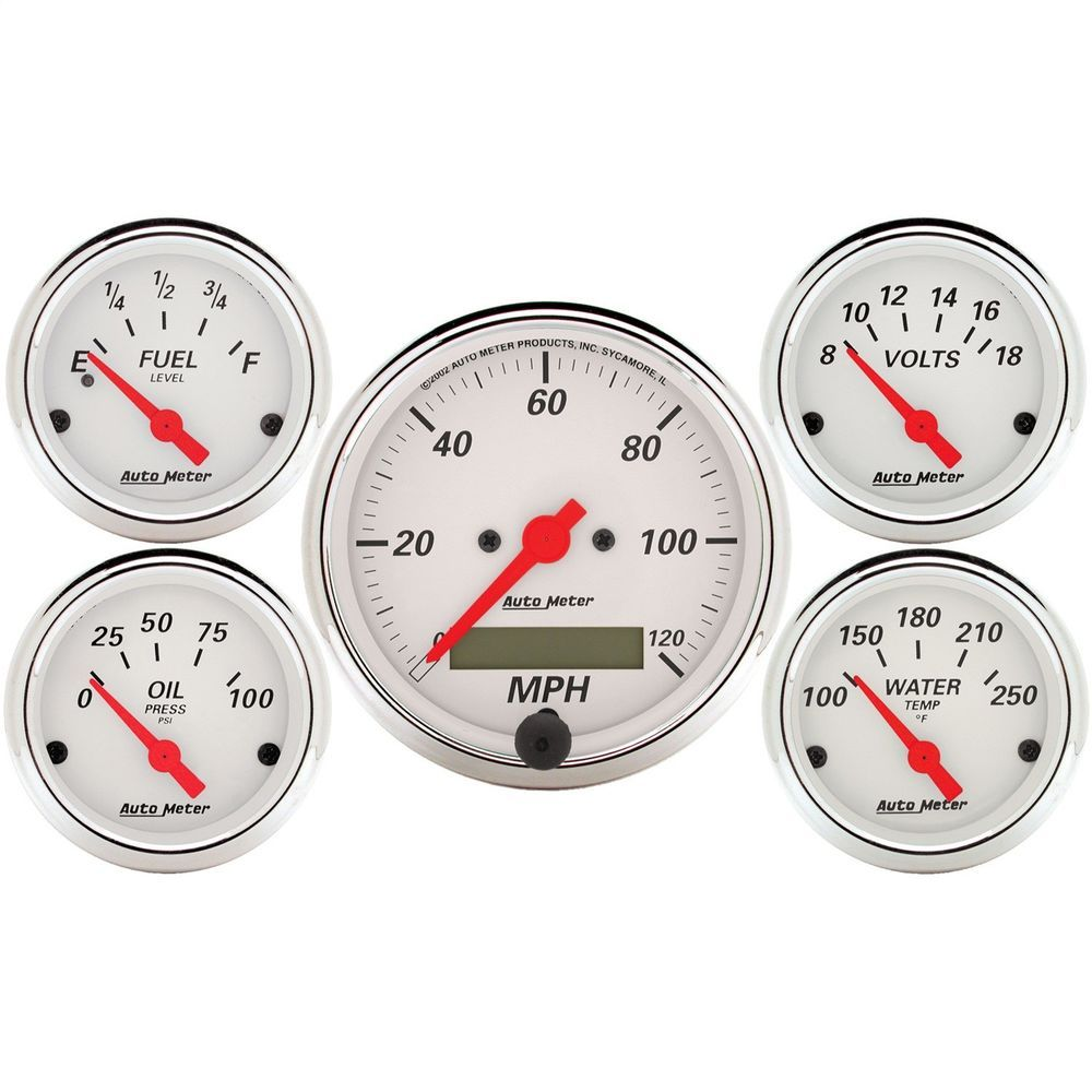 AutoMeter 1302 Arctic White Street Rod Kit | Gauges. Car and Truck on rear suspension for street rod, tires for street rod, heater for street rod, fuel gauge for street rod,