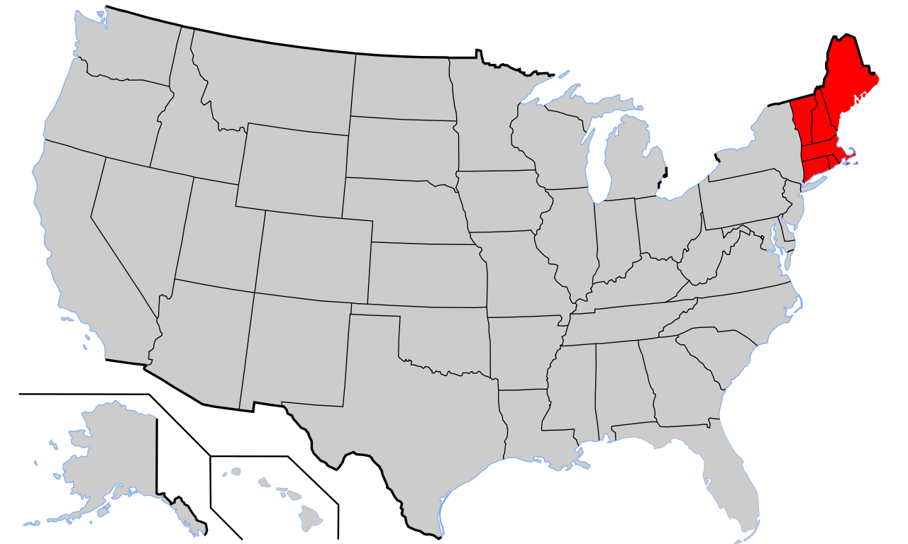 Location of New England red in the United States MAPS