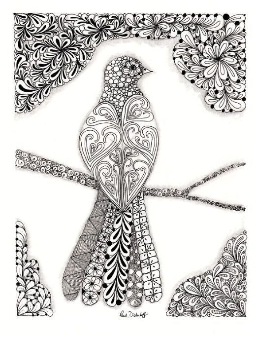 Bird Zentangle 37 Coloring